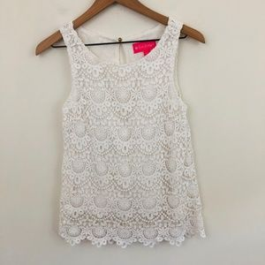 Lilly Pulitzer Crochet Lace Sleeveless Top XS